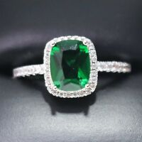 4 Ct Princess Emerald Ring Women Jewelry 14K White Gold Plated Free Shipping
