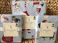 New Pottery Barn Kids Santa's Workshop FULL QUEEN duvet cover shams Christmas