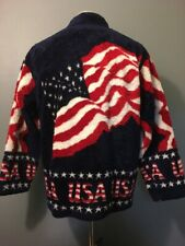Vtg Black Mountain Red White Blue Fleece USA Jacket Mens M 4th July America Zip