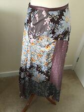 JIGSAW Patchwork Silk floral Asymmetric Maxi Skirt 8