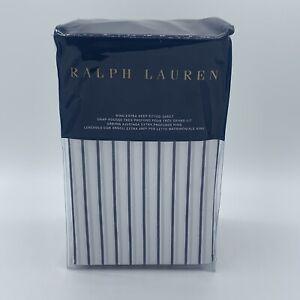 Ralph Lauren Home Prescot Stripe King Extra Deep Fitted Sheet Navy Blue WT $215