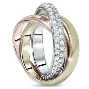 1ct Pave Rolling Ring Solid 14K White Yellow & Rose Gold