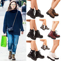 Ladies Womens Lace Up Ankle Boots Block Heel Chunk Platform Doc Punk Goth Shoes