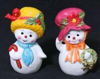Vintage Napcoware 1972 Mrs Snowman figurines, Snow Women Decoration X-8828