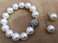 8/10/12/ 14mm White Akoya Shell Pearl Round Beads Bracelet + Earrings Set AAA
