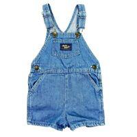 VTG OshKosh Baby Bgosh Vestbak Kids Denim Overalls Cotton USA Clover Buttons 24M