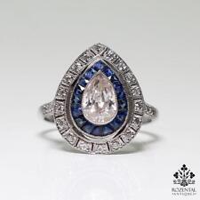 Antique Art Deco Platinum 1ct. Diamond (GIA Certified) & Sapphire Ring