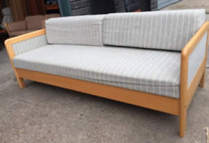 Vintage retro antique Danish mid century 3 seater sofa day bed couch grey stripy