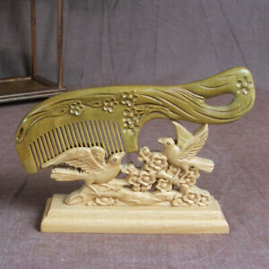 Retro Crafted Plum Flower Green Sandalwood Carved Wooden Fragrant no-static Comb