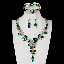 Fashion Vintage Wedding Set Necklace Bracelet Earrings Ring Studs Green Gem
