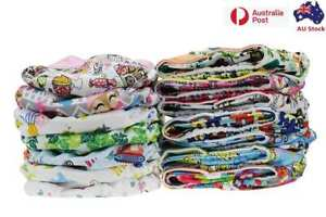 10 x Reusable Modern Cloth Nappies & Inserts All Size Diapers Print Bulk sales