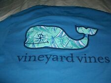 VINEYARD VINES Pocket T SHIRT Small 2 Sided Lt Blue WHALE Anchor Compass Design
