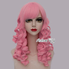 Lolita Style Pink Long 45CM Curly Fashion Women Girls Cosplay Heat Resistant Wig