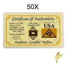 50X 1 Grain Gold Bullion 999,9 Feingold Je 0,0648 Gram Certificate Blister Pack