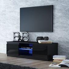 Onyx Designer Square Black Gloss Luxury TV Unit / Cabinet LED Lights 140cm
