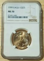 1999 American Gold Eagle $25 (1/2 oz.) NGC MS 70 Registry Set Coin!
