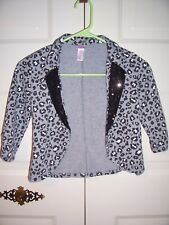 Justice gray 3/4 sleeve shrug black animal print embellished lapels size 8