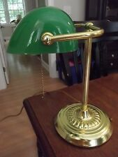 GREEN GLASS Bankers lamp Table Desk BRASS Piano Light GOOSE NECK shade student