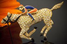 Schmuck Rennpferd Brosche Jockey auf Galopper mit Brillanten Lapis Koralle Gold