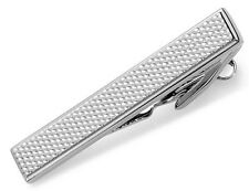 61KC42X011 074 KENNETH COLE CANAL TEXTURED SILVER TIE CLIP BAR 45MM FREE SHIP