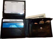 Men's bi-fold Leather Wallet 7 credit debit card ID Change purse 2 billfold BN