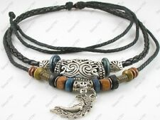 Adjustable Surfer Tribal Hemp Leather Choker Necklace Black Mens Womens Moonface