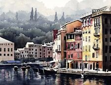 PORTOFINO ITALY Watercolor Painting 8 x 10 ART Print Signed by Artist DJR