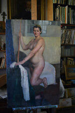 Antique 1951 Original Russian painting Nude USSR oil on canvas Gusev Yur