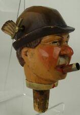 Vintage Hand Carved Wood Music Box - Man's Head - Bottle Stopper & Pourer