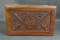 """10"""" Antique Carved Walnut Wooden Tobacco Cigar Humidor Jewelry Trinket Box Case"""
