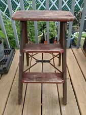 Vintage Rustic Small Red Step Ladder/Stool/Plant Stand