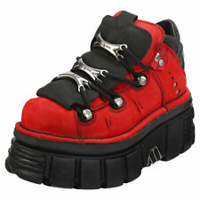 New Rock Half Boot Tower Unisex Red Black Leather Platform Shoes