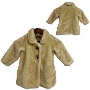 Old Navy toddlers girls fur dressy coat formal beige buttons size 3T (K-5)