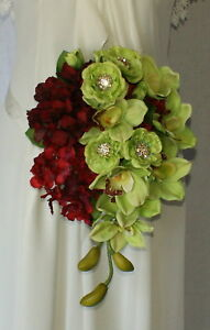 Wine and Green Teardrop Silk Wedding Bouquet