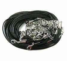 "Rockin Beads 20 Imitation Leather Cord Necklaces Black 18"" Lobster Claw Clasp"