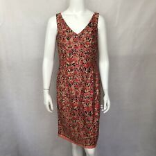 Peruvian Connection Dress 6 Sleeveless Pima Cotton Floral Print Pink Red V Neck