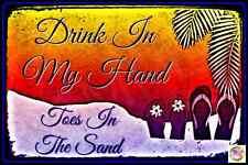 "Tiki Bar Sign Toes Sand Usa Made 8""X12"" Metal Margaritaville Luau Welcome Beach"