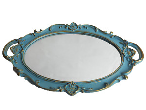 Decorative Mirror Tray For Perfume Organizer Jewelry Dresser and Display Blue