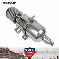 "Proflow 750ml Polished Oil Catch Can Tank with Breather & Drain Tap 1/2"" NPT New"