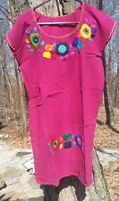 Maya Mexican Dress Above Knee Embroidered Flowers Chiapas Puebla Medium Magenta