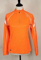Saucony ViZiPRO~Orange 1/4 Zip Running Athletic Pullover Jacket Womens Sz S~EUC