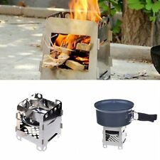 Outdoor Cook Camping Stainless Steel Folding Wood Stove Pocket Alcohol Stove New