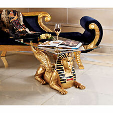 """Art Deco 18½"""" Golden Egyptian Sphinx Glass Topped Sculptural Table statue"""