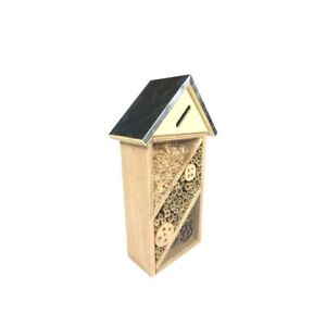 Wooden Insect House Bee Natural Wood Bug Hotel Shelter Garden Nest Box 37 x 21cm