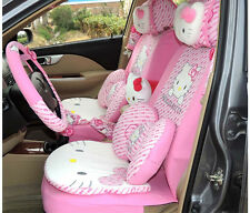 36pcs Hello Kitty Head Comfortable Pink Car Seat Covers Car Interior Accessories