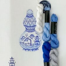 Plum Stitchery hand painted needlepoint canvas Blue White Kit gourd jar asian