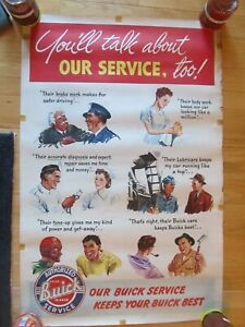 "1950 BUICK DEALER WALL POSTER 38""  X 50"" NOS AUTHORIZED BUICK SERVICE"