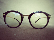 Black Oversized Gold Metal-Arm Vintage Geek Retro Clear Lens Glasses 60s 80s