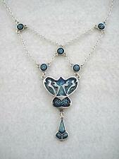 Stunning Nouveau Inspired Genuine Silver & Enamel Bib Drop Necklace