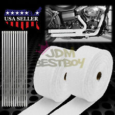 """2 Roll x 2"""" 50FT White Exhaust Thermal Wrap Manifold Header Isolation Heat Tape"""